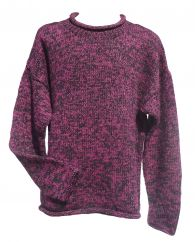 Pure wool hand knit jumper  two tone Blackberry