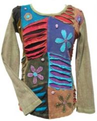 'Cut' and Applique Flower Patchwork Top Soft Green