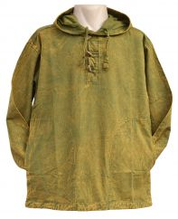 Stonewash Heavy Weight Cotton Hooded Shirt With Toggles Green