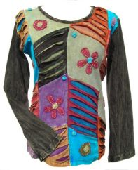 'Cut' and Applique Flower Patchwork Top Black