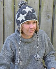 Pure wool half fleece lined star ear flap hat Grey/Natural