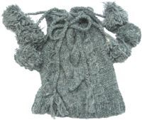 Half fleece lined six bobble tie top cable hat Grey