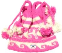 Pure wool half fleece lined four bobble tie top hat Pink/White