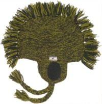 Pure wool half fleece lined medallion mane ear flap hat Green