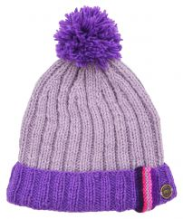 Half fleece lined pure wool bobble turn up with tape lilac/purple