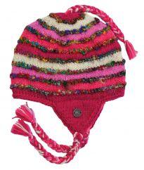 Hand knit half fleece lined recycled silk ear flap hat Pink
