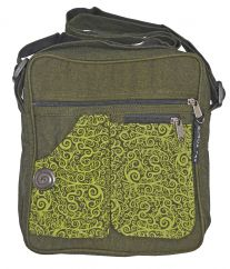 Double pocket print fabric bag green