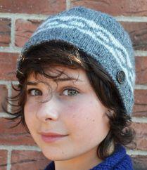 NAYA Hand knit classic twist beanie mid grey