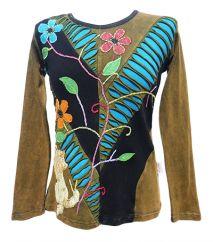 *** SALE *** 'Cut' and Embroidered Vine Top Green/Black