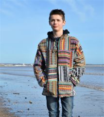 Gheri patchwork hooded jacket multi coloured