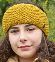 Fleece lined pure wool moss stitch headband mustard