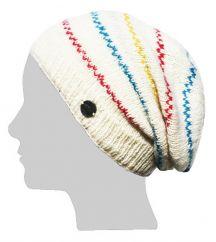 Half fleece lined pure wool tick stripe slouch Cream