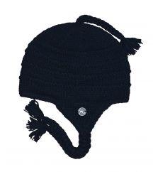 Pure wool half fleece lined ridge ear flap hat Black