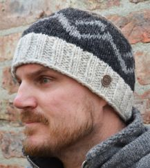 Pure wool hand knit helix beanie pale marl