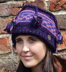 Pure wool half fleece lined tassel hat Purple/Blue