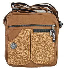 Double pocket print fabric bag mocha