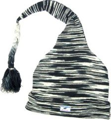 Half fleece lined cotton one tail hat Black/White