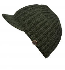 Hand knit pure wool ribbed peak hat Dark green