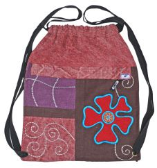 Hand embroidered heavy cotton duffle bag pink/brown