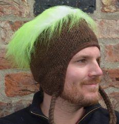 Hand knit half fleece lined hairy plain ear flap hat Assorted