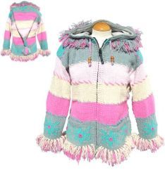 Fleece lined pixie hooded fringed jacket snowflake Ice