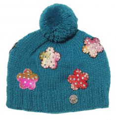 Pure wool half fleece lined felt flower sparkle bobble Turquoise