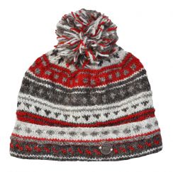 NAYA pure wool pattern bobble soft brown/red