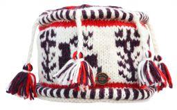 Pure wool reindeer tassel hat white/aubergine/red