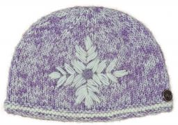 Hand knit fine wool mix embroidered beanie Lilac