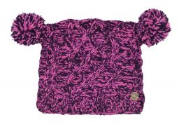 Pure wool square cable pom pom hat Pink/Purple