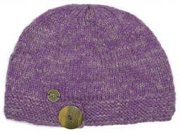 Pure wool half fleece lined big button cloche Violet