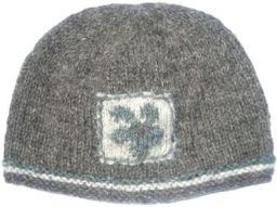 Pure wool half fleece lined flower patch beanie Grey