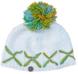 Hand knit criss cross  creamy bobble green