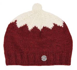 Hand knit half fleece lined top notch beanie deep red/cream