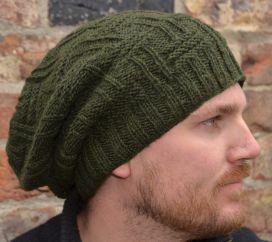 Pure wool half fleece lined basket weave slouch Dark Green