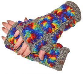 Fleece lined wristwarmer crochet squares grey/rainbow