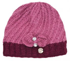 Pure wool half fleece lined Bow Sparkle Beanie Sorbet