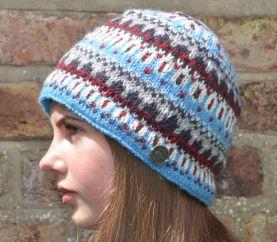 NAYA hand knit multi-patterned beanie blue/grey
