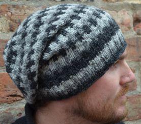 Pure wool half fleece lined geometric slouch Greys