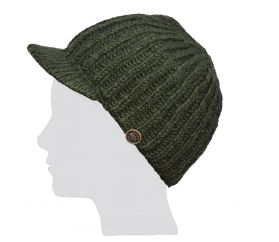 Hand knit pure wool ribbed peak hat Dark green
