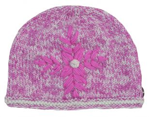 Hand knit fine wool mix embroidered beanie Shell Pink