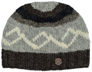 Pure wool hand knit helix beanie brown