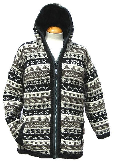 Hand Knitted Patterned Jacket at Black Yak