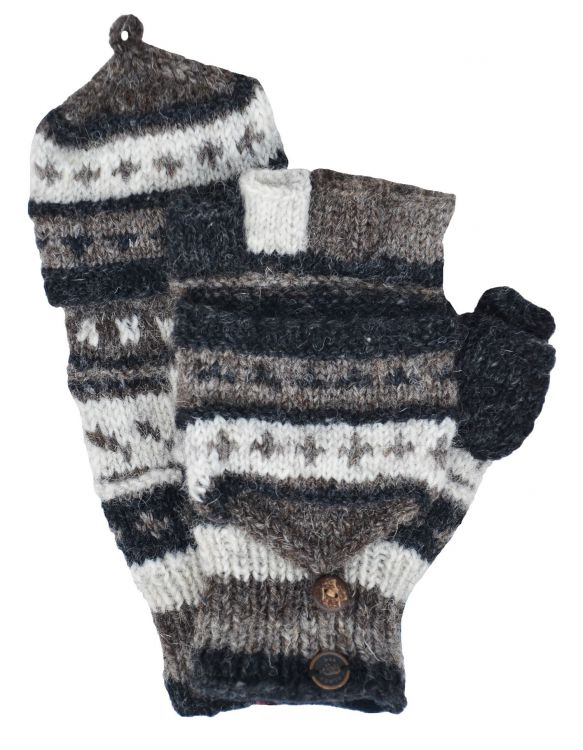 Fold over Mitts - Patterned at Black Yak